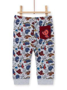 Pantalon gris chiné à imprimé dinosaure bébé garçon MUPAPAN1 / 21WG10H2PAN943