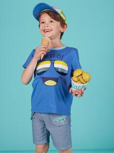 Tee shirt garçon bleu lunettes en sequins réversibles JOQUATI1 / 20S902R3TMCC201