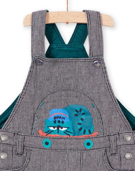Salopette rayée bleue encre motif chat bébé garçon MUTUSAL1 / 21WG10K2SALC234