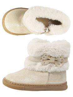 Boots col fourrure croûte de cuir à paillettes beige bébé fille GBFBOOTCHIC / 19WK37Y2D0D080