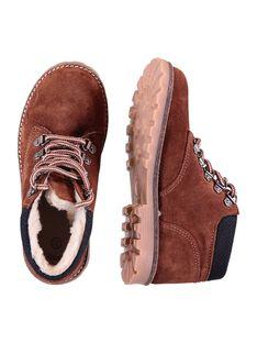 Boots croûte de cuir marron enfant garçon  GGBOOTMONT / 19WK36X2D0D802