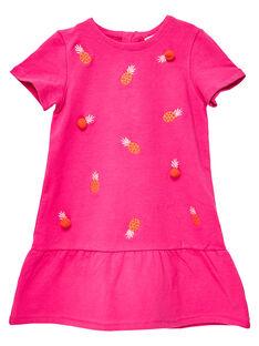 Robe rose en molleton brodé de petits ananas JAVIROB2 / 20S901D2ROBF507