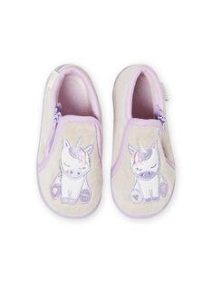 Chaussons de nuit gris chiné motif licorne bébé fille MIPANTLICO / 21XK3732D0A943
