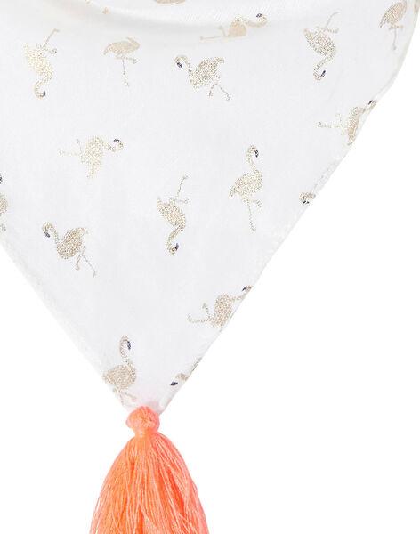 Foulard fille blanc avec flamand rose glitter doré et pompons rose JYAPOEFOUL / 20SI01G1FOU000