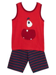 Pyjama court manches débardeurs enfant garçon rouge JEGOPYCMON / 20SH12U7PYJF505