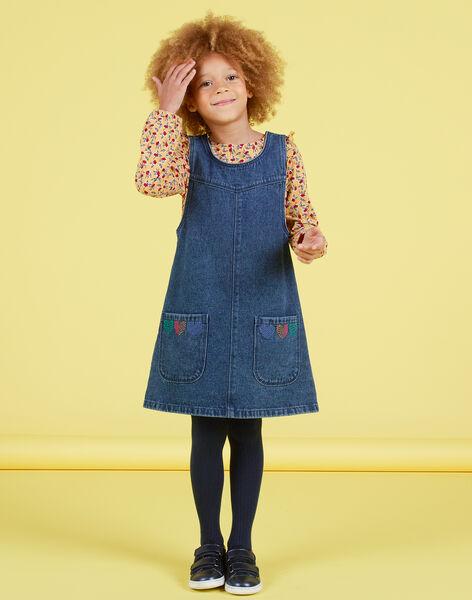 Robe trapèze en jean broderies cœurs enfant fille MAMIXROB1 / 21W901J2ROBP269
