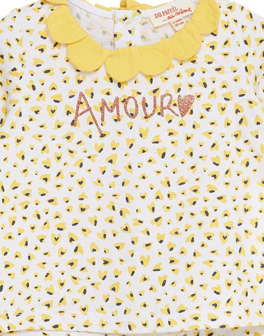 Tee shirt manches longues imprimé avec col bébé fille JITROBRA / 20SG09F1BRA000