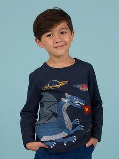 T-shirt bleu nuit motif dragon et espace enfant garçon MOPLATEE3 / 21W902O4TML705