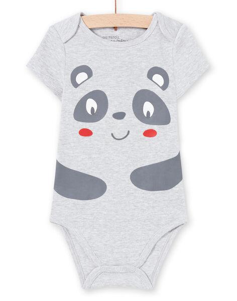 Body manches courtes gris chiné à motif panda bébé garçon MEGABODPAN / 21WH14B1BDLJ920