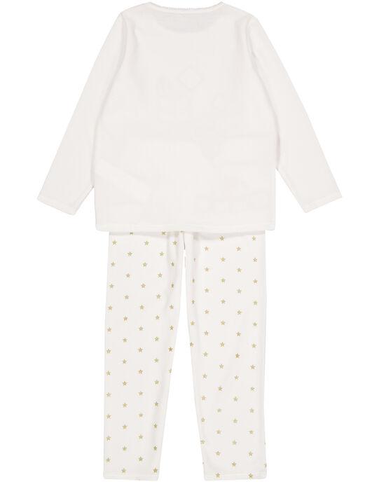 Pyjama écru Noël en velours enfant fille GEFAPYJNO / 19WH11T1PYJ001