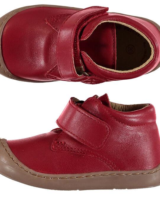 Bottillon flexible cuir rouge bébé garçon  GBGBOTIFLER / 19WK38I3D0F050