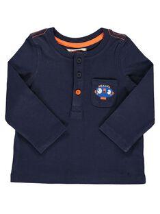 Tee-shirt manches longues bleu marine bébé garçon DUJOTUN3 / 18WG1038TMLC205