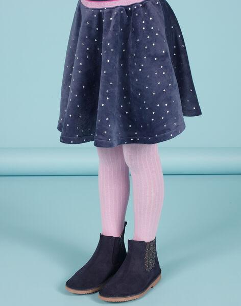 Jupe patineuse bleue à pois dorés en velours enfant fille MAPLAJUP2 / 21W901O2JUPC202