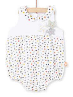 Barboteuse blanche et jaune à pois naissance fille LOU2BAR / 21SF03I1BAR000