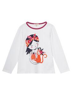 T-shirt écru imprimé fillette et son petit singe  JAVITEE1 / 20S901D2TML001