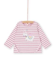Tee-shirt parme manche longue à rayure lurex bébé fille KIBOTEE / 20WG09N1TMLH707