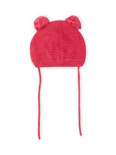 Bonnet rose vintage motif chat et pompons bébé fille MYIFUNBON / 21WI0966BOND332