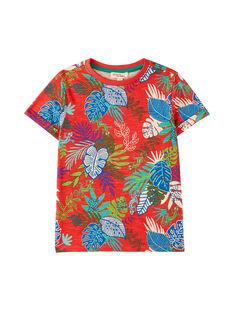 Tee shirt garçon rouille imprimé feuillage tropical JOSAUTI6 / 20S902Q6TMC408