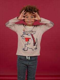 T-shirt manches longues à rayures enfant garçon MOFUNTEE4 / 21W902M1TML810