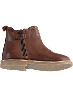 Chelsea boots cuir marron enfant garçon  GGBOOTCHEM / 19WK36X3D0D802