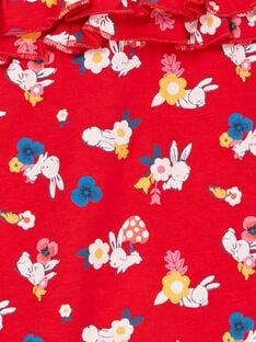 Salopette rouge imprimé lapins et fleurs bébé fille LIHACOMB / 21SG09X2CBL505