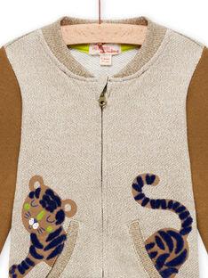 Gilet beige chiné et marron à motif tigre bébé garçon MUKAGIL / 21WG10I1GIL604