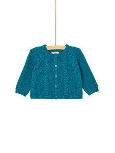 Gilet tricot turquoise lurex bébé fille KIBRICAR1 / 20WG09F2CARC217