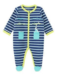 Grenouillère bébé garçon en molleton bleue et turquoise  JEGAGREDIN / 20SH14U3GREC230