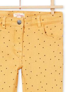 Pantalon en sergé moutarde à imprimé étoiles enfant fille MAJOPANT1 / 21W90123PANB106