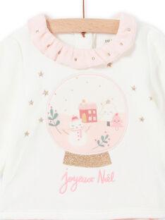 Ensemble pyjama bicolore motif de Noël en velours bébé fille MEFIPYJNO / 21WH13F1PYJD329
