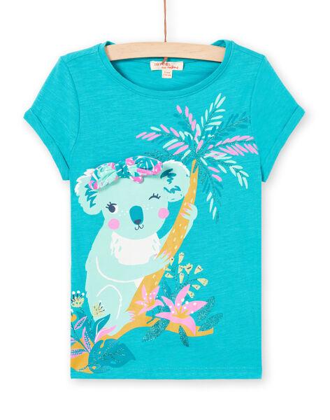 T-shirt turquoise motif koala enfant fille LAVERTI3 / 21S901Q2TMCC217