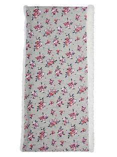 Snood fille double tour gris avec motif à fleur et intérieur sherpa JYAVISNOO / 20SI01D1SNO943