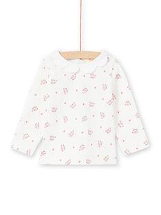 T-shirt manches longues écru à imprimé têtes de léopard et fleurs bébé fille MIPABRA / 21WG09H2BRA001