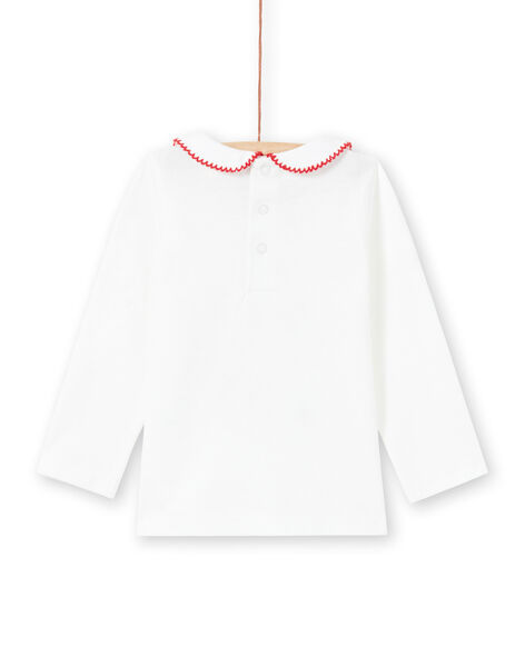 T-shirt écru Col Claudine brodé motifs fantaisie bébé fille MIMIXBRA / 21WG09J1BRA001