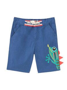 Bermuda garçon bleu outremer avec gros caméléon sur la jambe JOSAUBER3 / 20S902Q2BER707