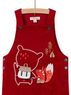 Salopette rouge en velours côtelé motif fantaisie bébé garçon MUFUNSAL1 / 21WG10M2SAL510