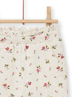 Bas de jogging beige à imprimé fleuri bébé fille MIKABAJOG / 21WG09I1JGBA011