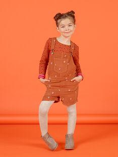 Salopette courte en velours côtélé imprimé cerise enfant fille MACOMSAC / 21W901L1SAC420