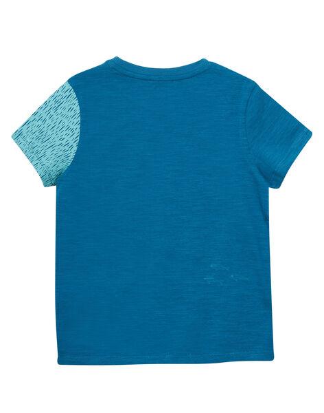 Tee shirt garçon turquoise foncé manches courtes imprimé pieuvre JOBOTI4 / 20S902H2TMCC219