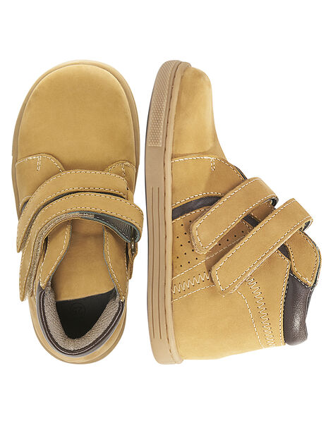 Basket cuir nubuck beige enfant garçon  GGBASBOOT / 19WK36I7D3F804