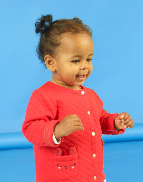 Gilet rouge matelassé broderies lapin bébé fille LIHACAR / 21SG09X1CAR505