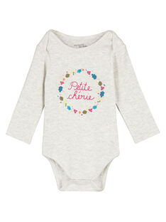 Body manches longues gris chiné en rib layette fille GEFIBODNUI / 19WH13N3BDL943