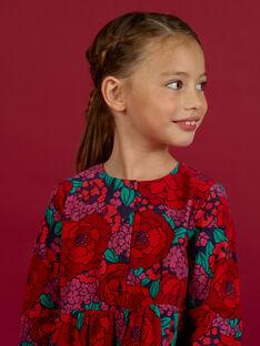 Robe manches longues imprimé fleuri en velours côtelé enfant fille MAFUNROB1 / 21W901M3ROBH703