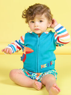 Gilet à capuche en maille bleu motif oiseau bébé garçon JUMARGIL / 20SG10P1GILC242