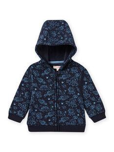 Gilet bleu noir imprimé espace bébé garçon MUPLAGIL / 21WG10O1GILC243