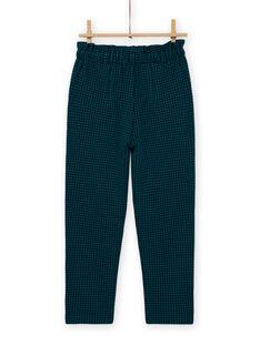 Pantalon paper bag milano à carreaux enfant fille MATUPANT / 21W901K1PAN070