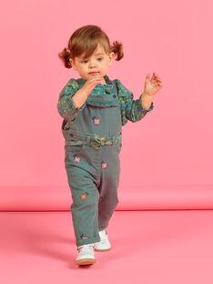 Salopette vert kaki à broderies fleuries bébé fille MIKASAL / 21WG09I1SAL626