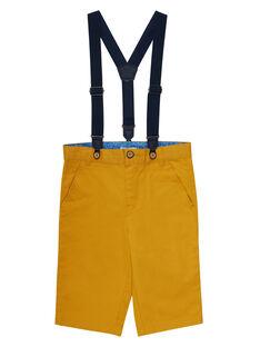 Bermuda jaune maïs garçon à bretelles JOSOBER2 / 20S90282BERB107