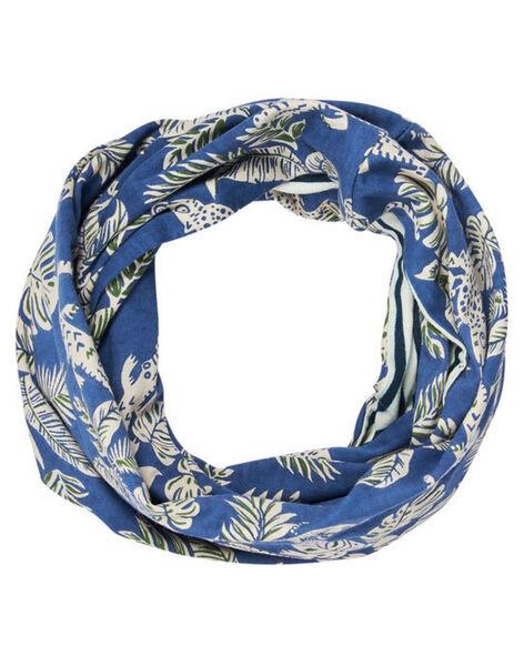 Snood double tour garçon bleu avec motif jungle JYOCLOSNO / 20SI0211SNO715