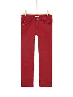 Pantalon droit bordeau enfant garçon KOJOPATWI5 / 20W90237D2B506